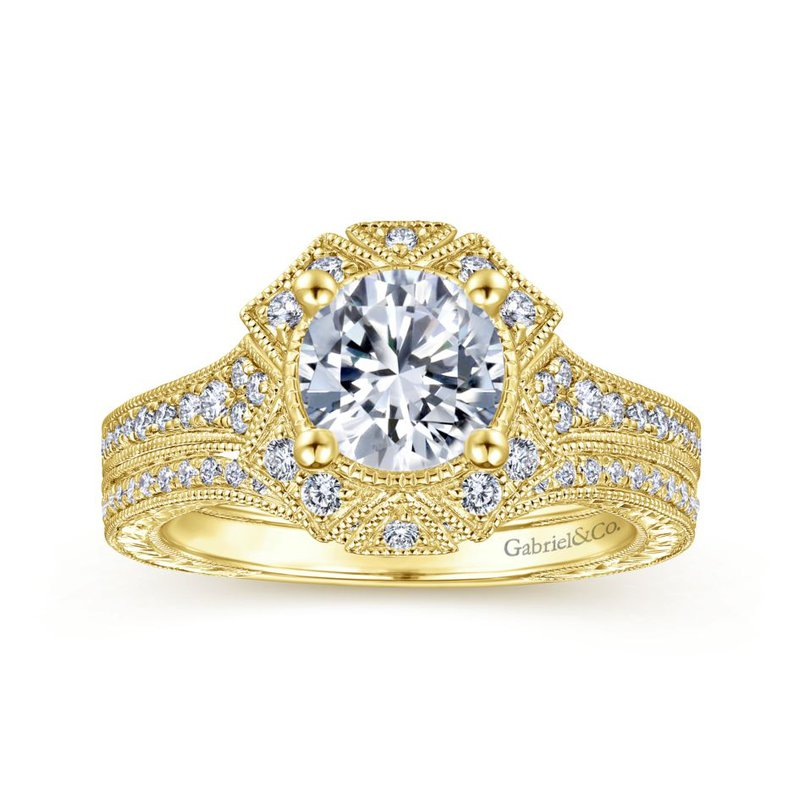 Gabriel Bridal Art Deco 14K Yellow Gold Fancy Halo Round Diamond Engagement Ring