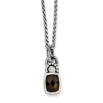 Sterling Silver Smoky Quartz & Diamond Necklace