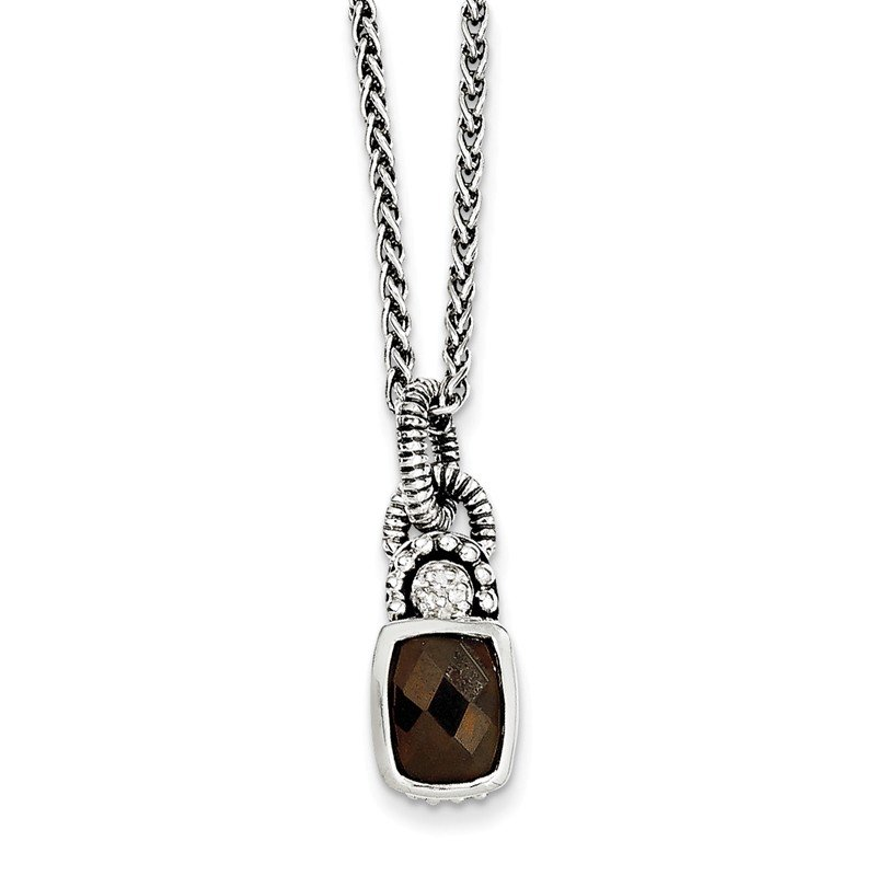 Shey Couture Sterling Silver Smoky Quartz & Diamond Necklace