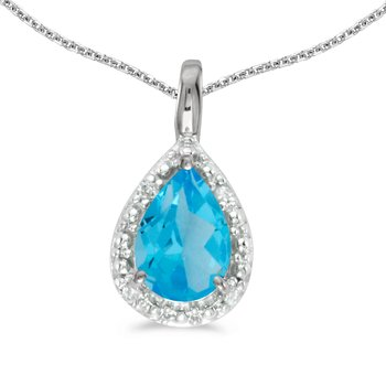 14k White Gold Pear Blue Topaz Pendant