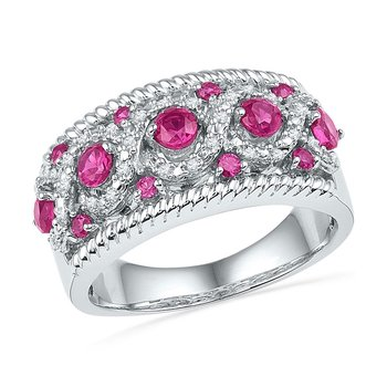10kt White Gold Womens Round Lab-Created Pink Sapphire Diamond Roped Band 1.00 Cttw