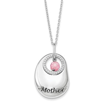 Sterling Silver Antiqued CZ For You Mother 18in. Necklace