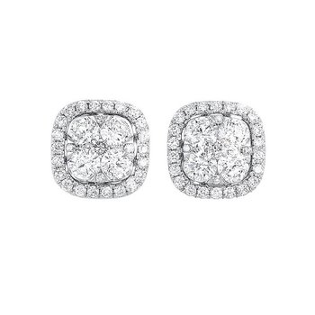 Diamond Cushion Halo Cluster Stud Earrings in 14k White Gold (3/4 ctw)