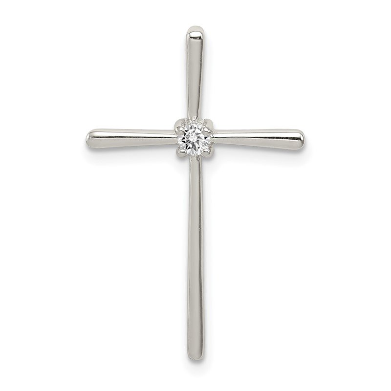 Quality Gold Sterling Silver CZ Cross Slide Pendant