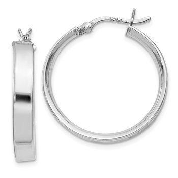 Sterling Silver Rhodium Plated 4.25x25Hoop Earrings