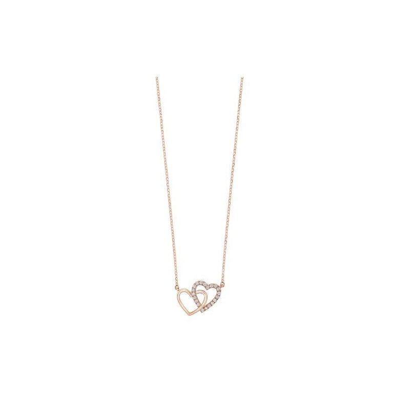 Gems One Diamond Double Heart Pendant Necklace in 14k Yellow Gold (0.08ctw)
