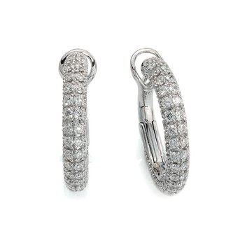 18Kt Gold Small Hoops With Diamonds