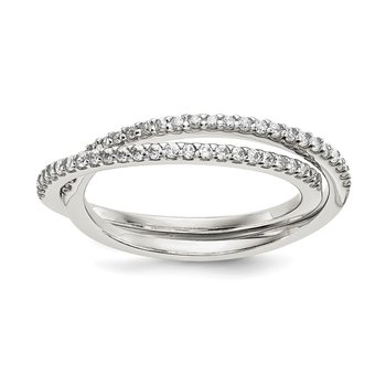 Sterling Silver CZ Intertwined Rings
