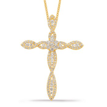 Yellow Gold Diamond Cross