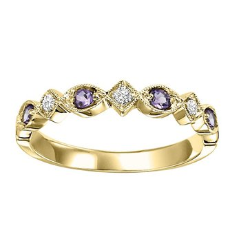 14K Synthetic Alexandrite & Diamond Mixable Ring