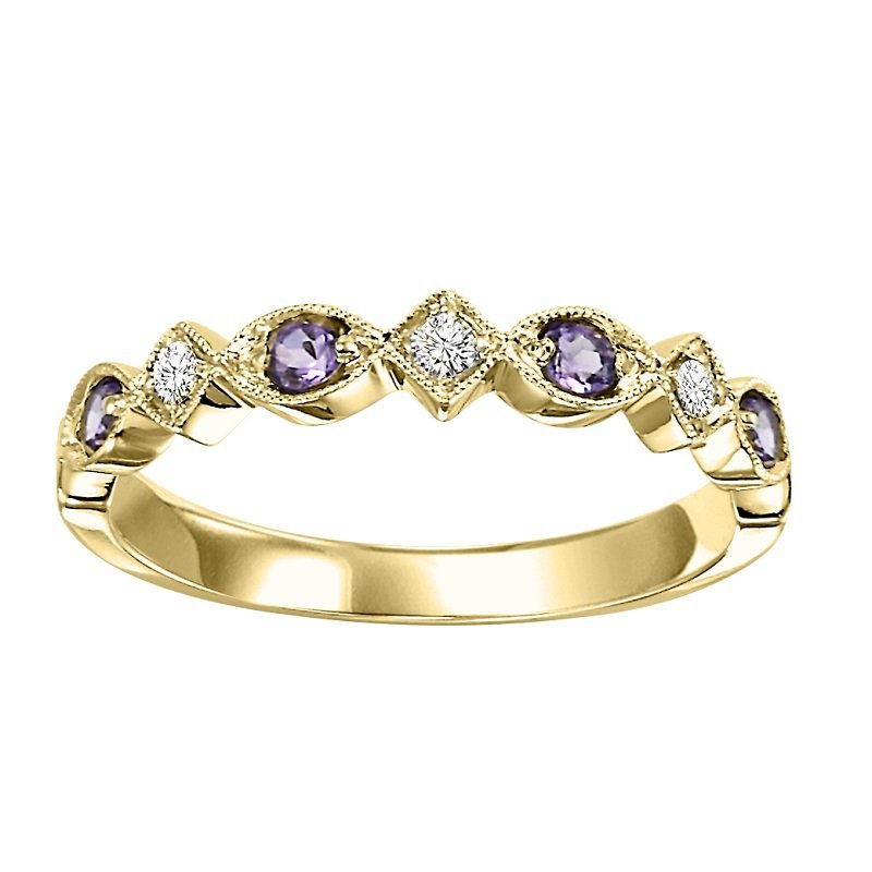 Mixables 14K Synthetic Alexandrite & Diamond Mixable Ring