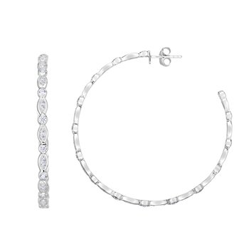 Silver 50x3mm Marquise & Round CZ C Hoops