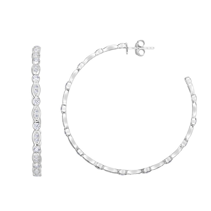 Royal Chain Silver 50x3mm Marquise & Round CZ C Hoops