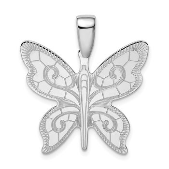 Sterling Silver Rhodium-plated Butterfly Pendant