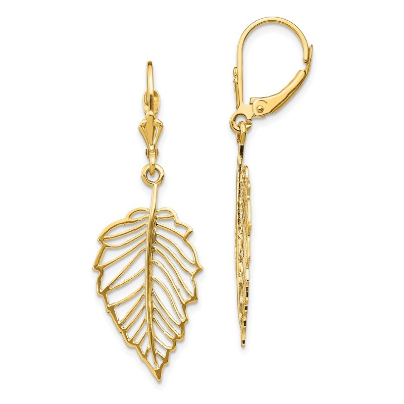 Quality Gold 14K Polished Leaf Leverback Earrings