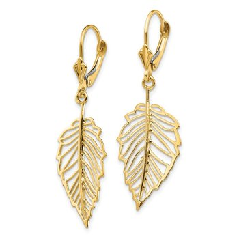 14K Polished Leaf Leverback Earrings