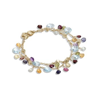 Paradise Collection 18K Yellow Gold Blue Topaz and Mixed Gemstone Double Strand Bracelet