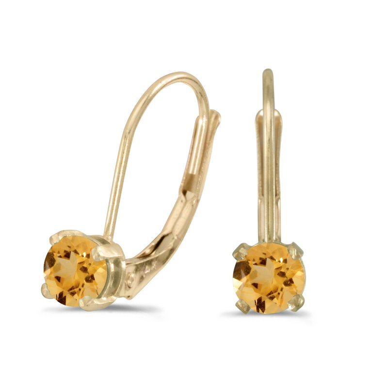 Color Merchants 14k Yellow Gold Round Citrine Lever-back Earrings