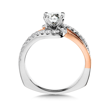 Diamond Split Shank Engagement Ring Mounting with side stones in 14K White/Rose Gold (.29 ct. tw.)