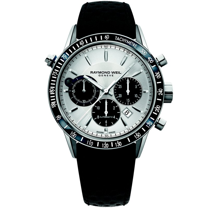 Raymond Weil Men's Automatic Chronograph Watch, 43mm Steel on leather strap, silver dial, tachometer bezel