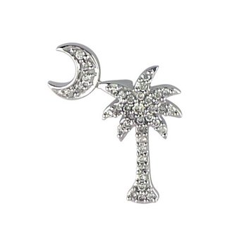 14K White Gold .15 Ct Diamond Palm Tree and Crescent Moon Pendant