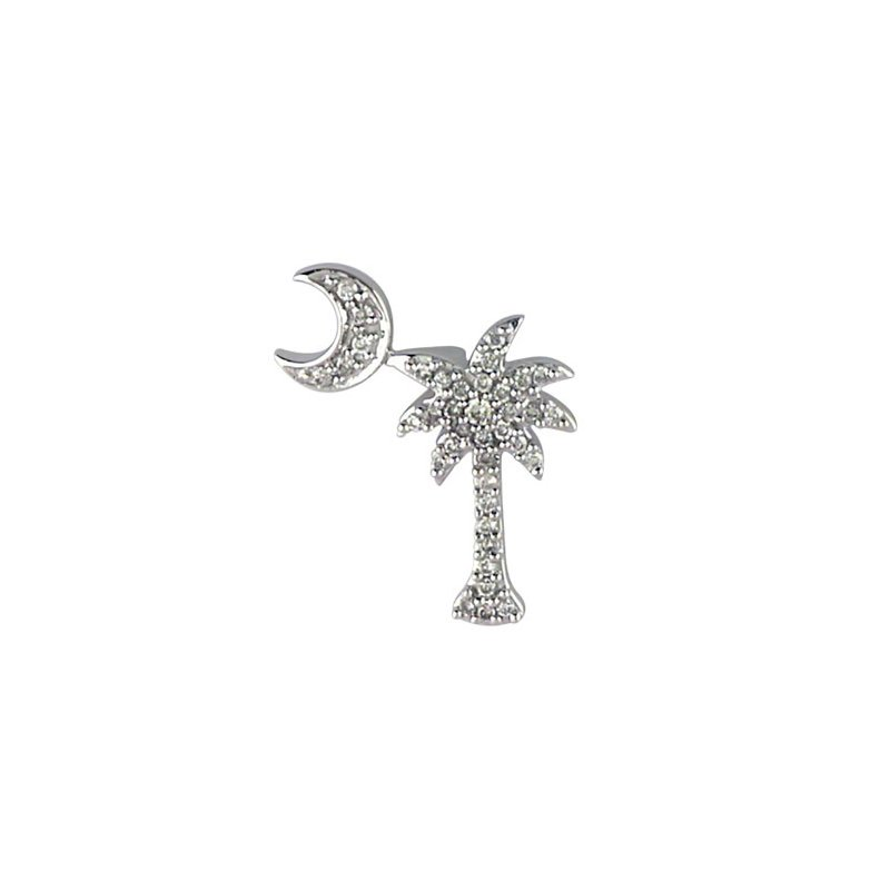 Color Merchants 14K White Gold .15 Ct Diamond Palm Tree and Crescent Moon Pendant