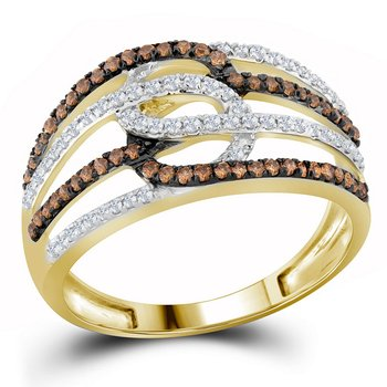 10kt Yellow Gold Womens Round Cognac-brown Color Enhanced Diamond Linked Loop Band Ring 1/2 Cttw