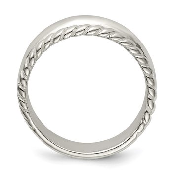 Sterling Silver Twisted Narrow Dome Stacked Ring