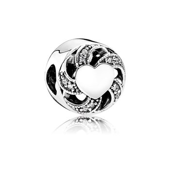 Ribbon Heart, Clear CZ