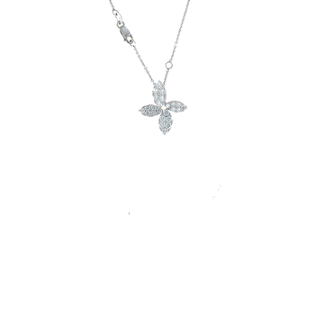 18KT WHITE GOLD DIAMOND FLOWER PENDANT
