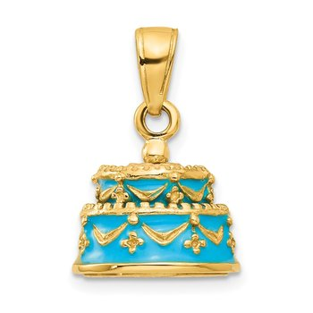 14K 3-D Aqua Blue Enameled HAPPY BIRTHDAY Cake Pendant