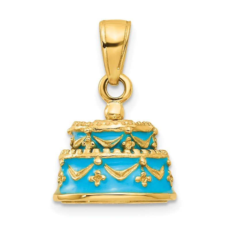 Quality Gold 14K 3-D Aqua Blue Enameled HAPPY BIRTHDAY Cake Pendant