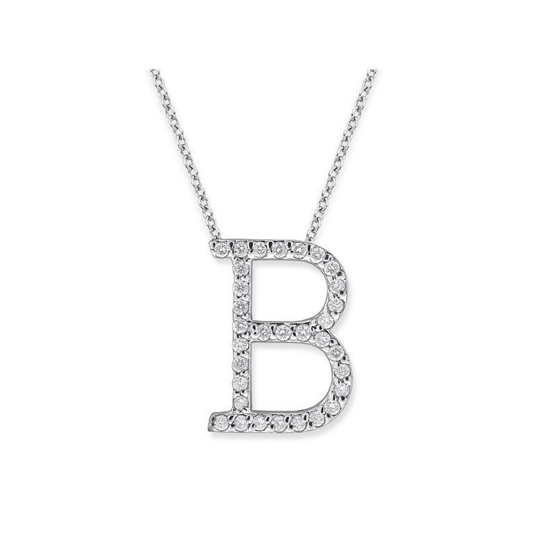 "KC Designs Diamond All Star Initial ""B"" Necklace in 14K White Gold with 32 diamonds weighing .32ct tw."
