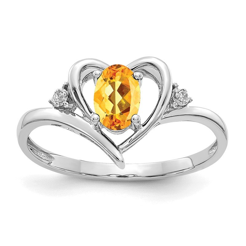 Quality Gold 14k White Gold Citrine and Diamond Heart Ring