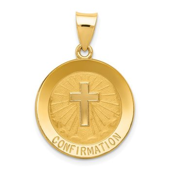 14k Confirmation Medal Hollow Round Pendant