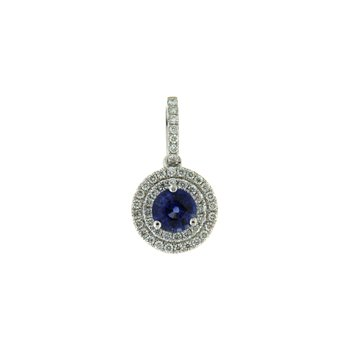 18k White Gold Pendant with Sapphire & Diamond