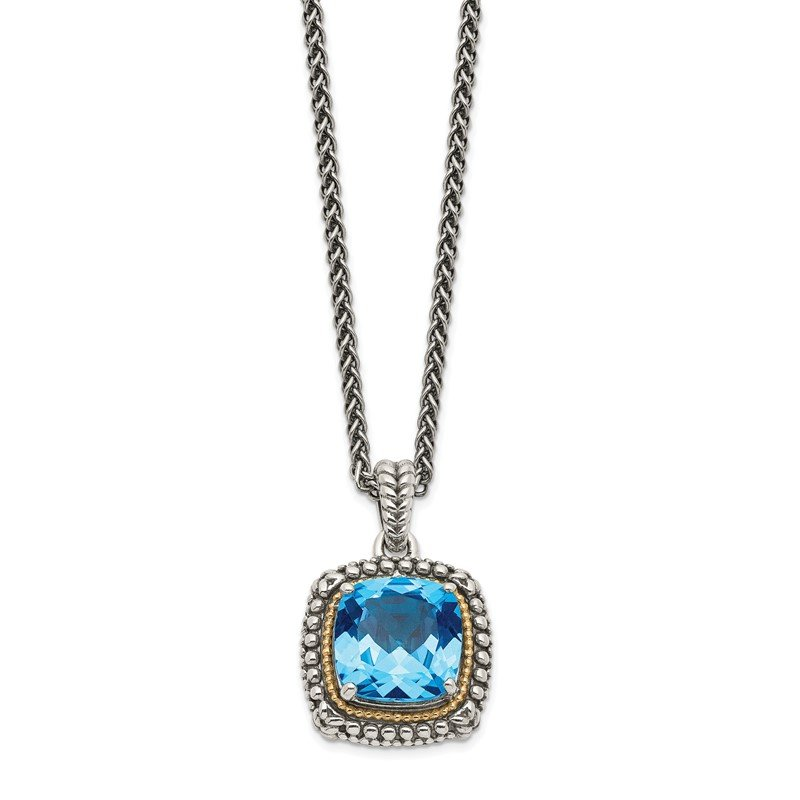 Quality Gold Sterling Silver w/14k Lt Swiss Blue Topaz Necklace