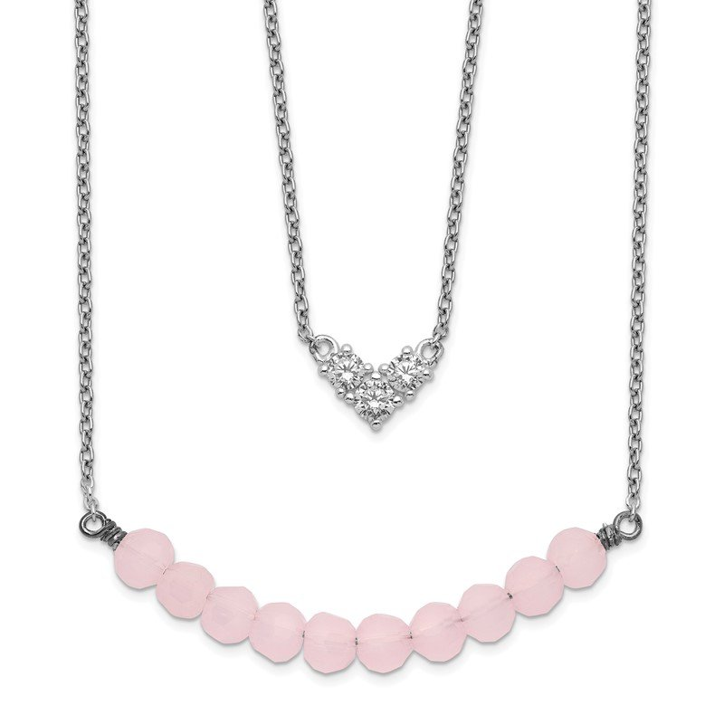 Quality Gold Sterling Silver 2-Strand CZ & Pink Glass Bead Necklace