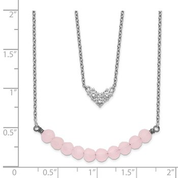 Sterling Silver 2-Strand CZ & Pink Glass Bead Necklace