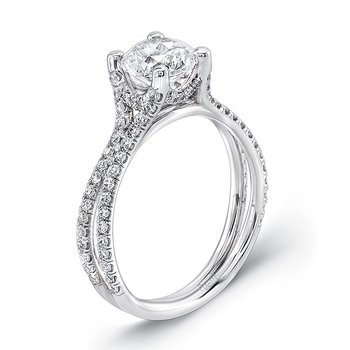 Uneek Round Diamond Solitaire Engagement Ring with Pave Double Shank, in 14K White Gold