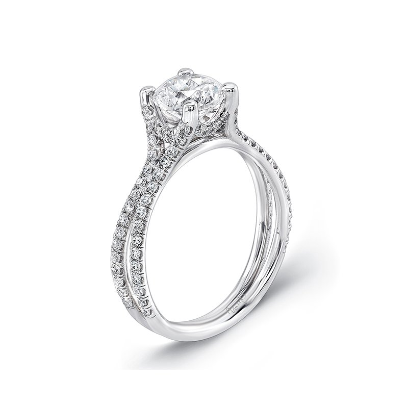 Uneek Fine Jewelry Uneek Round Diamond Solitaire Engagement Ring with Pave Double Shank, in 14K White Gold