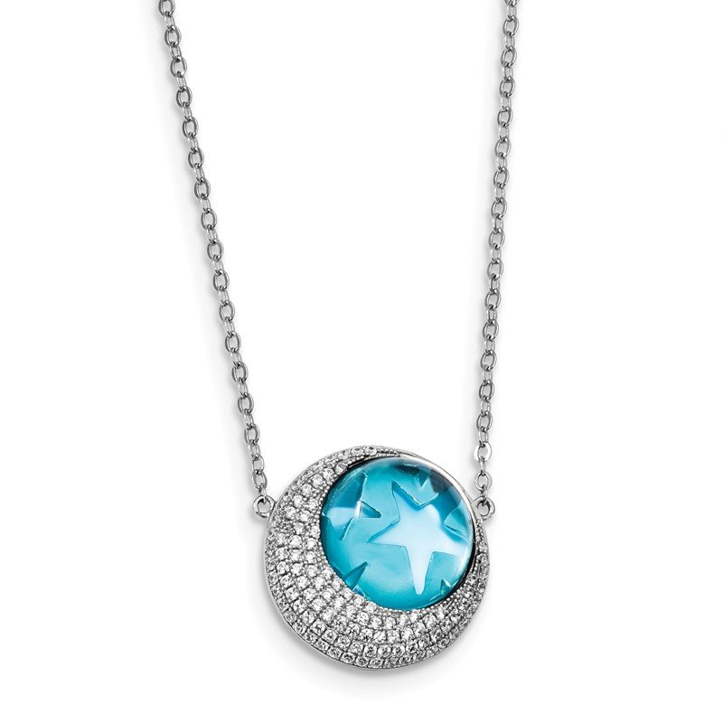 Quality Gold Sterling Silver Rhodium-plate Blue Glass & CZ Moon/Stars 2in Ext Necklace