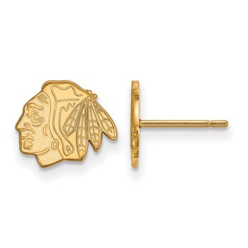 Gold-Plated Sterling Silver Chicago Blackhawks NHL Earrings