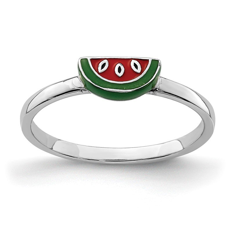 Quality Gold Sterling Silver Rhodium-plated Childs Enameled Watermelon Ring