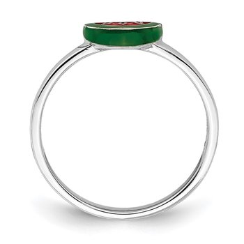 Sterling Silver Rhodium-plated Childs Enameled Watermelon Ring