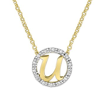 "Gold and Diamond Mini Halo ""U"" Initial Necklace"