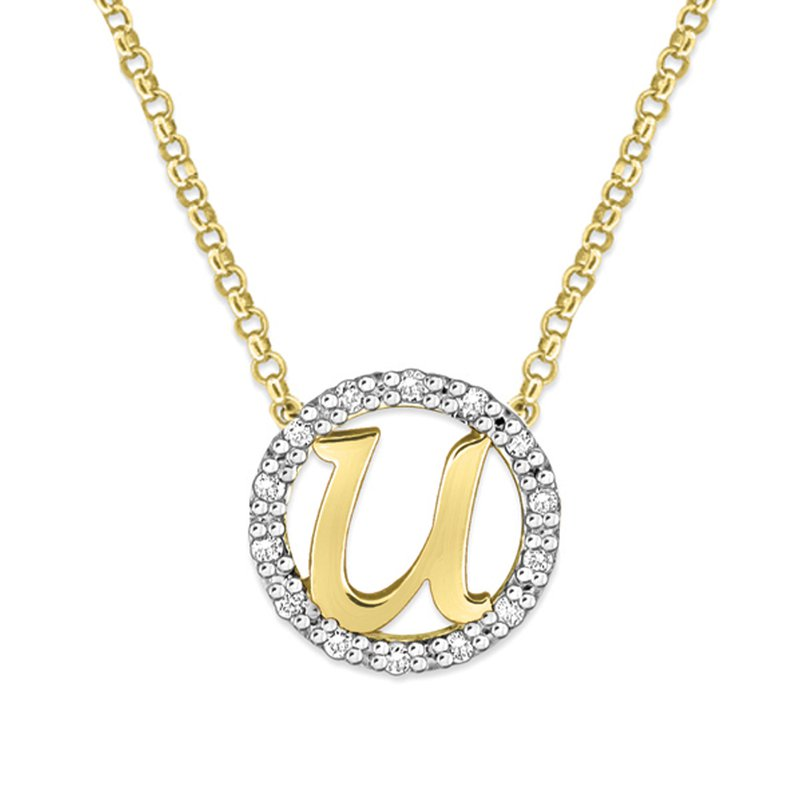 "KC Designs Gold and Diamond Mini Halo ""U"" Initial Necklace"