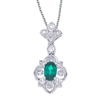 14k White Gold Emerald and Diamond Fleur De Lis Pendant
