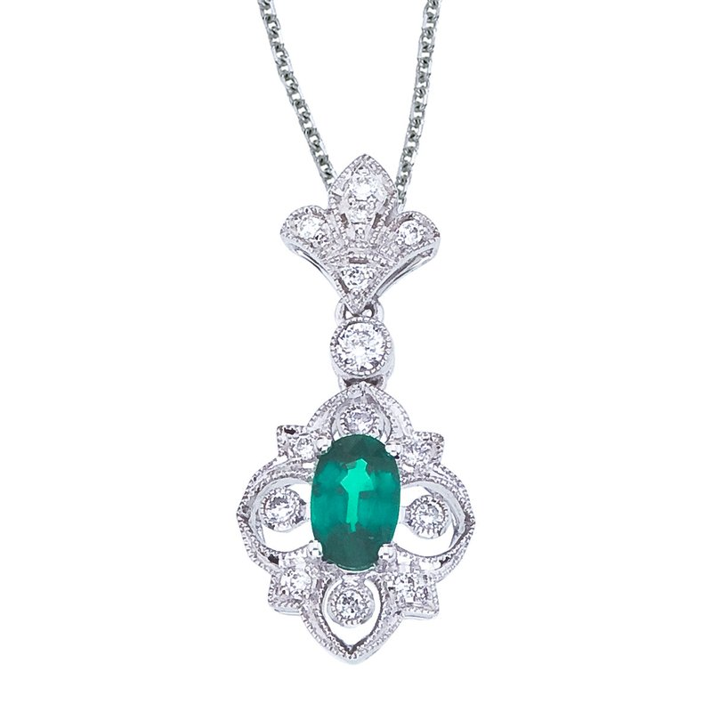 Color Merchants 14k White Gold Emerald and Diamond Fleur De Lis Pendant