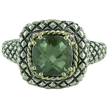 18kt and Sterling Silver Cushion Green Amethyst Button Ring